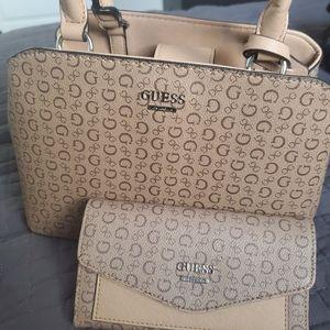 Guess mocha mini satchel and wallet NWOT